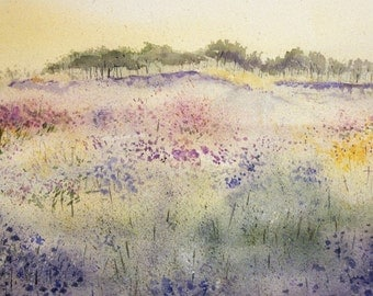 Wildflowers Watercolor Print - Impressionistic- Pastel Colors- Watercolor Landscape-  Meadow- Pink, Yellow, Green