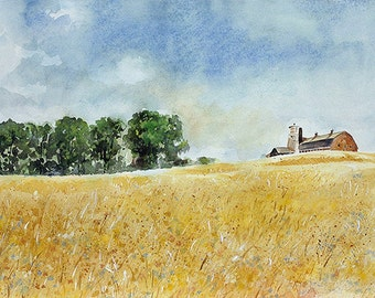 Landscape Watercolor Print- Realistic Landscape- Red Barn, Golden Field, Blue Sky- Watercolour-  Horizontal