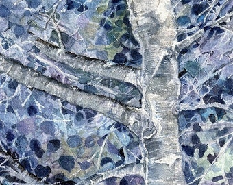 Blue Aspen Print- Watercolor- Colorado Art- Inverted Art- Abstract Tree- Watercolour Print- Vertical