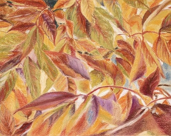 Fall Leaves Pastel Drawing- Original Pastel- Leaf Art- Weeping Crabapple Leaves- 7x10- Red, Orange- Boulder Colorado