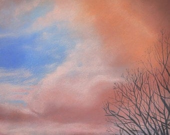 Pink Cloud Pastel- Drawing on Paper- Sunrise Art- Cotton Candy- Realistic  Winter Landscape- 8.5x11