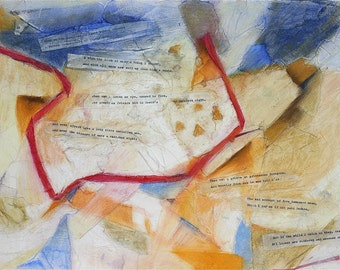 Shakespeare Sonnet 30, Poetry Art, Original Pastel- Mixed Media Collage, Sonnet xxx, Blue, Red, Gold, White- 15x20- Donation