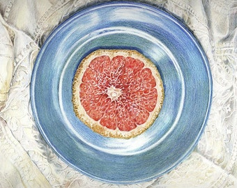 Pink Grapefruit Print- 8x10- Photo Realistic Drawing- Blue Plate, White Lace- Colored Pencil - Fruit, Kitchen Art