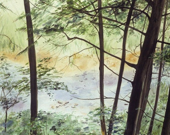 Greenery Watercolor River Print -Delaware Stream- Water, Green Trees- Realistic Landscape- Vertical