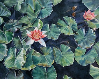 Greenery Watercolor Print- Pink  Lotus Flower - Green Leaves- Photo Realistic Painting- Garden, Botonaic, Summer- 7x10-  Horizontal