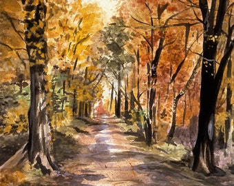 Watercolor Woods Print- Forest, Woods-  Road In Woods- 8x10- Orange, Red, Yellow- Realistic Art