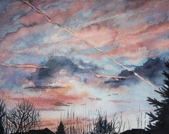 Sunrise Watercolor Painting- Original Watercolor- Pink Purple Clouds - Realistic Landscape- 8.5x11- Fine Art-  Horizontal