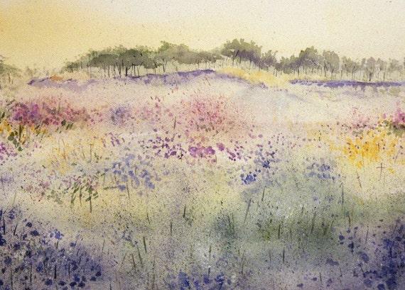 Floral Wildflowers Watercolor Print - Impressionistic- Pastel Colors- Watercolor Landscape- 5x7- Meadow
