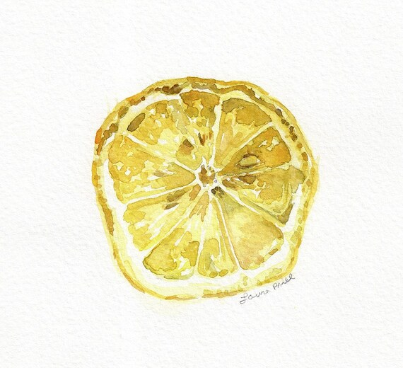 Lemon Slice Watercolor Original Painting Realistic Still