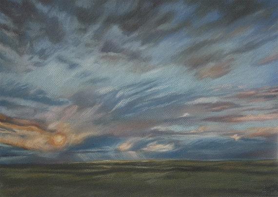 Blue Cloud Pastel-Sunset Over Green Horizon-Realistic Landscape-Matted