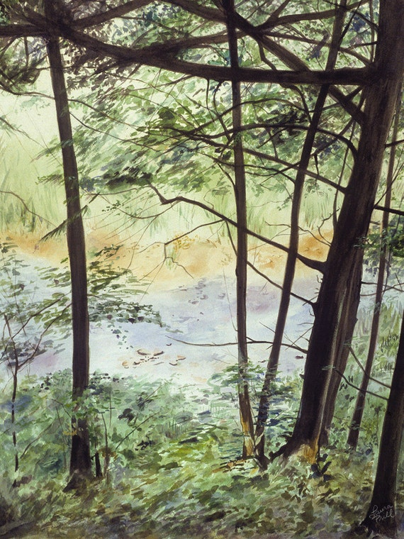Watercolor River Print -Delaware Stream- Water and Green Trees- Realistic Landscape- 7x10- Digital Inkjet