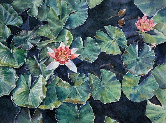Floral Watercolor Print- Pink  Lotus Flower -Green Leaves-  Photo Realistic WatercolourPainting- Garden, Botonaic, Summer- 7x10