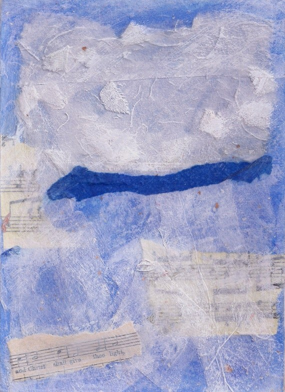 Blue Original Collage-With White- Mixed Media Abstract with Music- 5x7