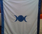 Blue Triple Moon Altar Cloth/ Wall Hanging