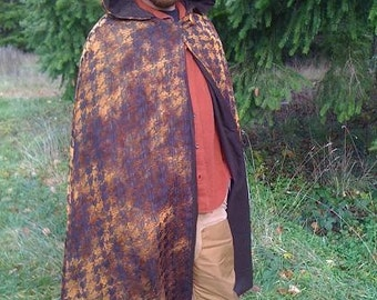 PRICE REDUCTION!-Beautiful Handmade, Reversible Cloak- Autumn Brown and Copper Tones, with Autumn leaf appliques