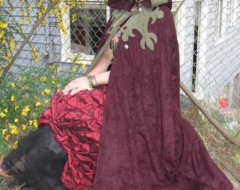 PRICE REDUCTION!-Beautiful Handmade, Reversible Cloak- Olive and Burgundy Fleur de Lis