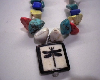 Dragonfly Pendant Necklace with Multicolored Stones