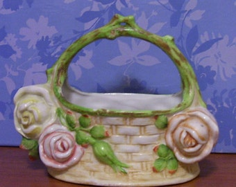 CERAMIC BASKET With Roses  1930s