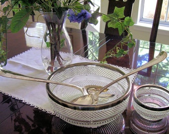 GLASS BOWLS with SILVER Trim and Silver Plated Salad Serving Set      1960s