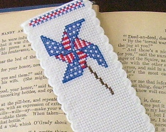 HAND EMBROIDERED Red, White and Blue Pinwheel BOOKMARK