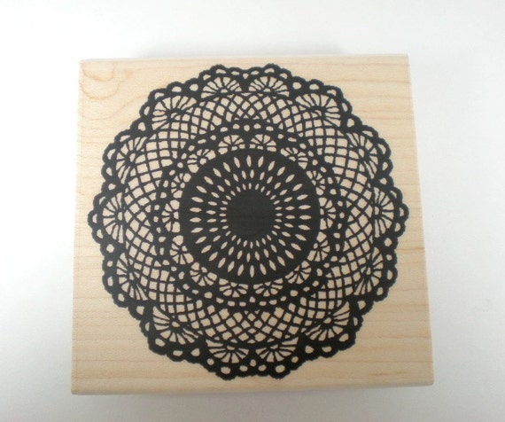 LAST ONE - Beautiful Kodomo Japanese Rubber Stamp  - Round Lace