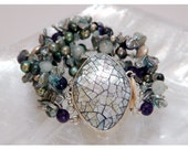 Mosaic Shell clasp with Aquamarine, Amethyst and Fresh Water Pearls