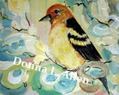 Original Western Tanager and Florals Expressionism  12 x 12 Acrylic and Impasto Painting