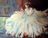 Ballerina at Rest , Art Original Acrylic Painting,in Old Studio Room, window, white dress, woman   I take CREDIT CARDS
