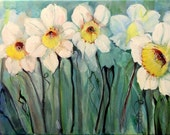 Original Acrylic Painting of Daffodils 12 x 24  by artist Donna Allen