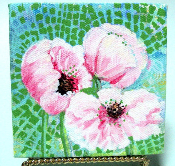 "ART Original Acrylic on Canvas, Poppies on Lace, 4x4x3/4"" with Display Easel, Painted on all Sides   RESERVE for Loretta"