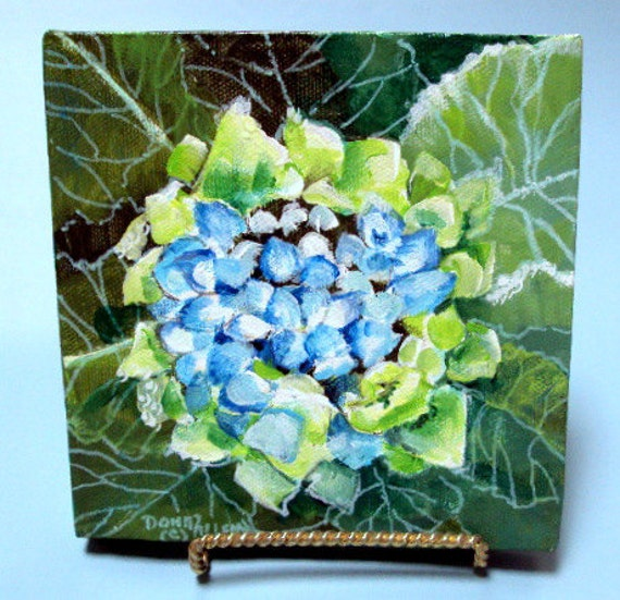 Art Original Painting Hydrangia and Leaves 6x6 with Easel   Blue Green Floral