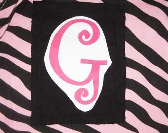 3-6 Month Pink Zebra Initial G Onesie
