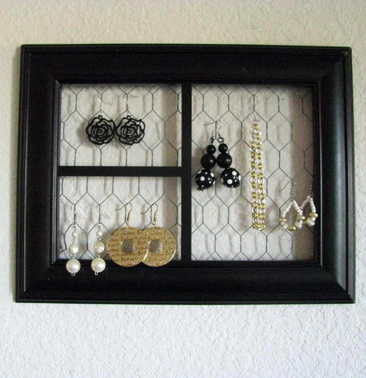 Custom Jewelry Display Frame: Divided Views Picture Frame Jewelry Display