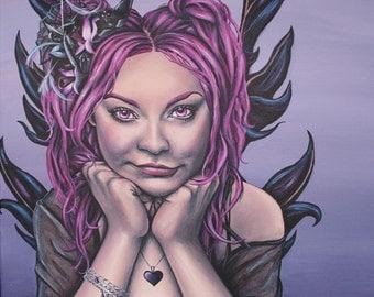 gothic black and purple faery fantasy fine art print because you're mine