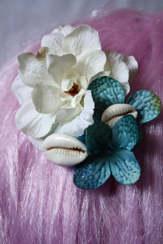 mermaid flower and cowrie shell made to order hair clip