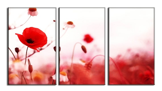 Poppy Flower Nature LARGE Photo Painting Canvas Art Print FRAMED Ready to Hang - 3 PANELS