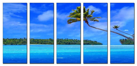 Sea Beach Nature HUGE Photo Painting Canvas Art Print FRAMED Ready to Hang - 5 PANELS