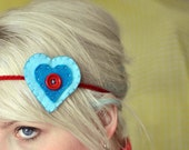 Heart on Your Headband - Blue and Red