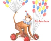 Monkey Medium Hand Painted Fingerprint Guest book, with balloons and 3 ink pads