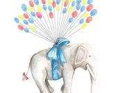 X Small Fingerprint Guest book, Hand Painted Floating Elephant with balloons 3 colors, Custom Order