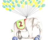 Large Fingerprint Guest book, Hand Painted Elephant with balloons 2 colors, Custom Order