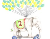 Medium Fingerprint Guest book, Hand Painted Elephant with balloons 2 colours, Custom Order