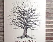 Small Fingerprint  Tree Wedding Guest book, Hand Drawn in Ink, includes 2 ink pads and pen