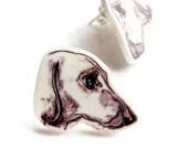 Dachshund stud earrings, sweet sausage dog shrink plastic jewelry.