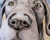 Great Dane Art, Beach Days Puppy, original water-color and ink painting.