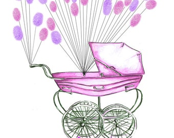 Medium Fingerprint Guest book, baby carriage pram with balloons 2 colors, Custom Order