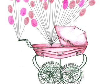 X Small Hand Painted Fingerprint Guest book,  baby carriage pram with balloons 2 colours