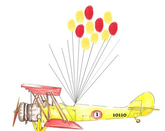 Large Airplane Fingerprint Guest book, Hand Painted Biplane with balloons 2 colors, Custom Order