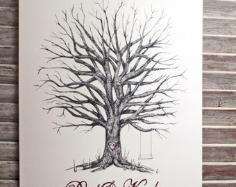 X-Large Oak Hand Drawn Fingerprint Guest book Wedding Tree with 2 inks and pen.