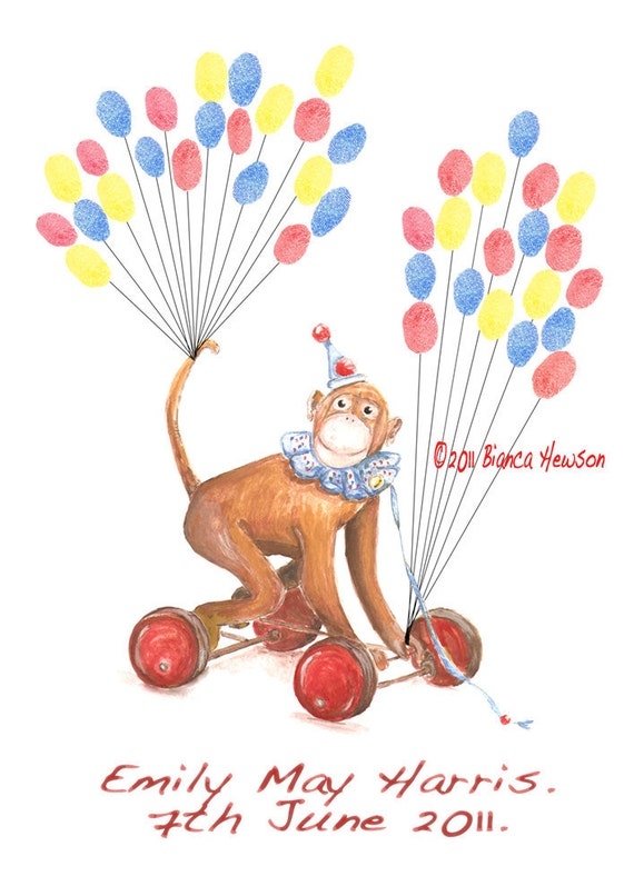 X small Monkey Hand Painted Fingerprint Guest book, with balloon strings, 3 ink colours